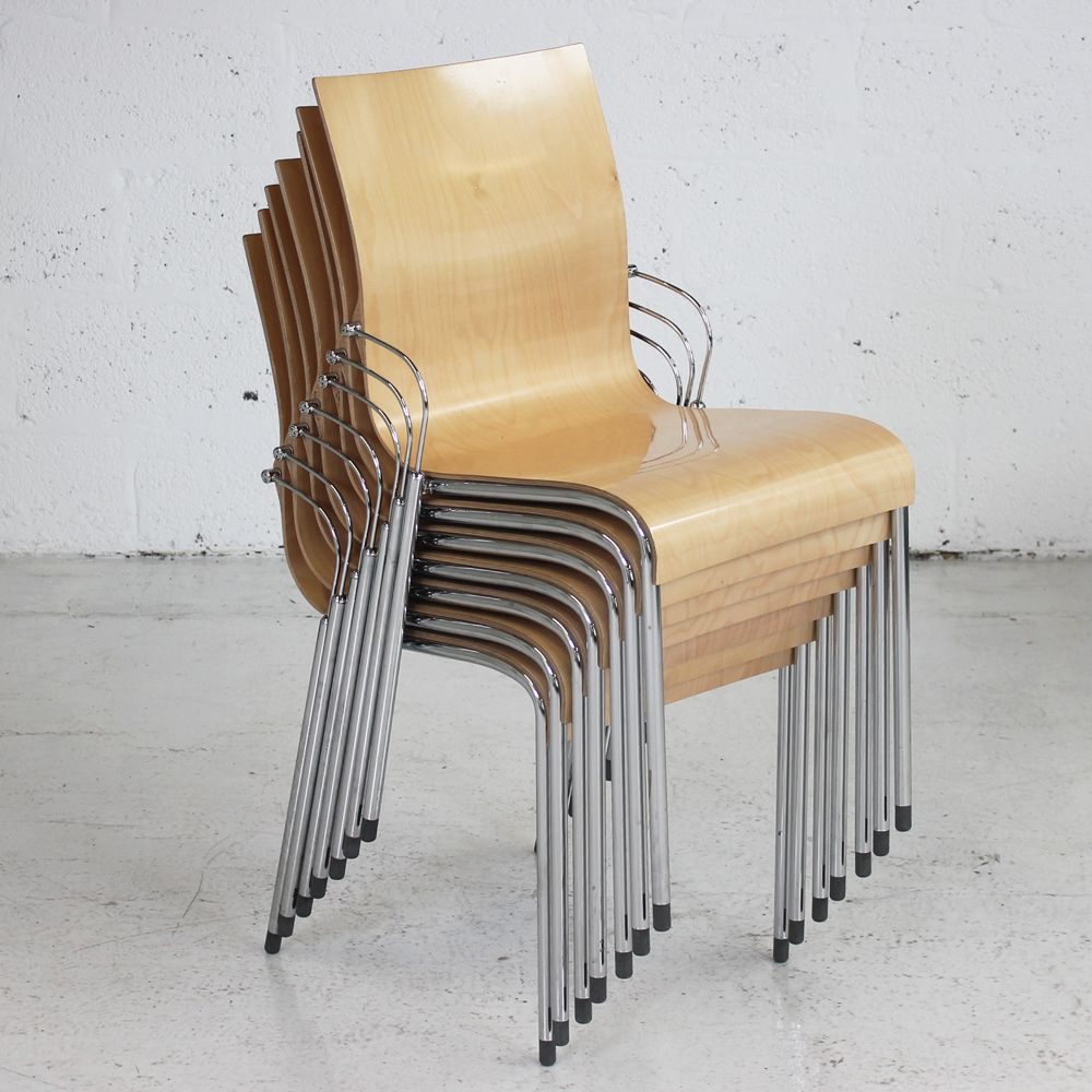 Wooden Gloss Stacking Chair Meeting Chair Conference Chair